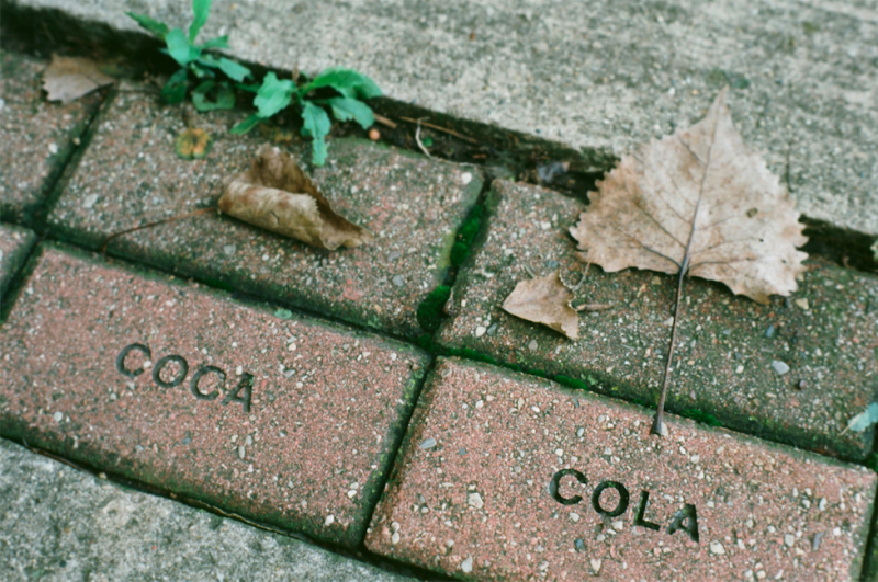 film photography old stones paving cobblestones coca cola leaf