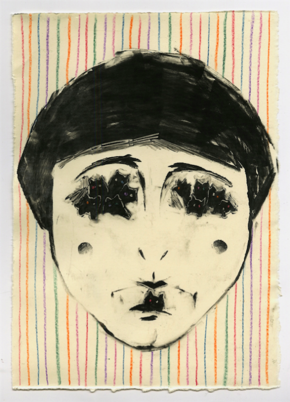 monotype printmaking face clown stripes cats eyes