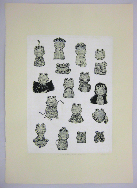woodcut relief print frog toy cute surreal paper dolls printmaking collage chine colle