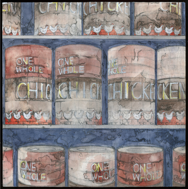 painting drawing wood panel watercolor colored pencil ink scribble doodle surreal google dream cans chicken whole grocery store shelf