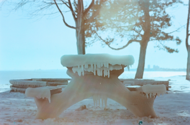snow winter film photograph ice frozen bench icicle