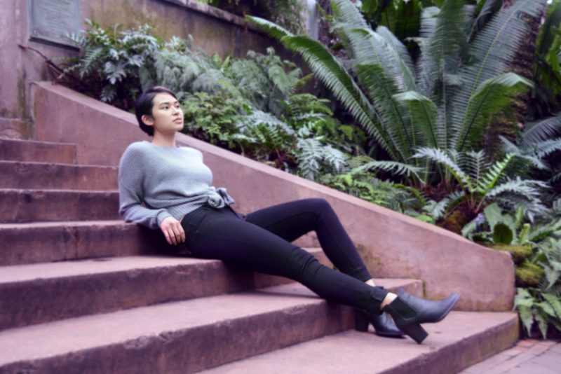 digital photograph portrait model plants conservatory hothouse leaves girl young woman sitting asian sweater short hair pixie cut steps fashion staircase