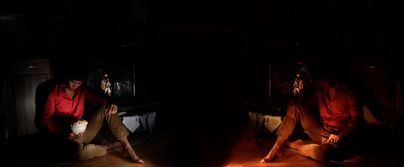 light portrait digital photograph dark light chiaroscuro contrast shadow streak flash line young asian man boy