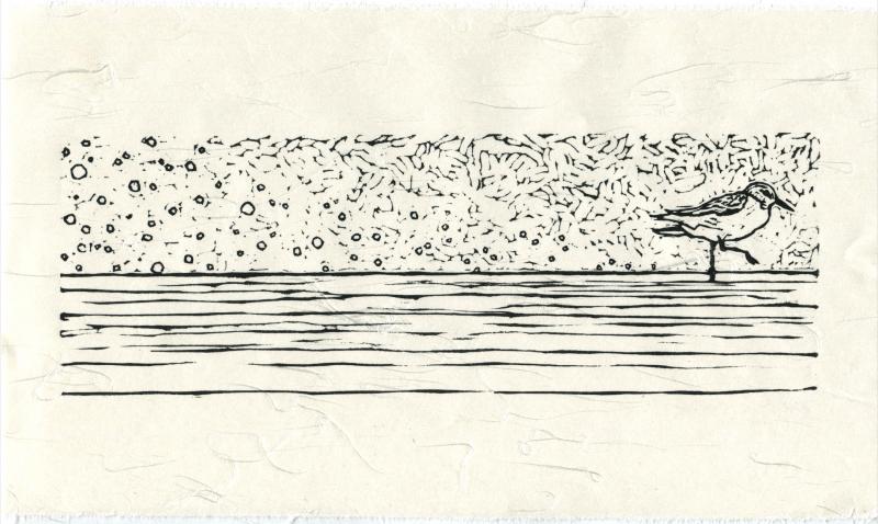 linocut relief print printmaking washi ivory japanese paper dune bird shorebird indiana black and white sand walking