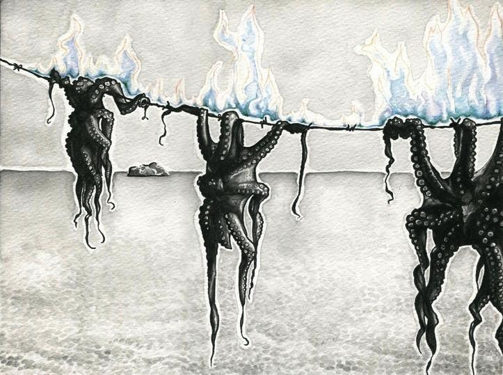 watercolour ink illustration drawing of dead octopuses octopi hanging tied line rope string ocean sea background island sky flames fire on flaming burning surreal creepy weird