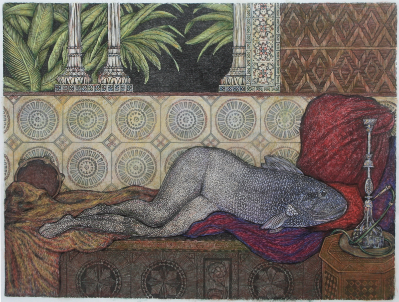 linoleum lincut relief print odalisque oriental harem parody lady reclining reverse backwards mermaid merperson human legs fish head surreal pillows drapery moroccan ornate tiles wood carving engraving shisha hookah palm leaves fronds greenery columns pillars