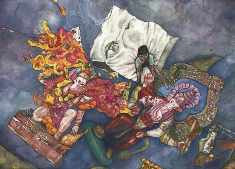acrylic gouache illustration drawing painting india boy sitting river debris festival garlands colorful flowers ganesh statue float elephant god resting trash