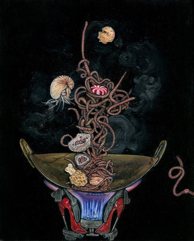 Oil painting of a cross section of a wok lit from below and set on two red high-heeled shoes; a tangle of worms, hedgehogs, a mushroom, a shrimp, and a peppermint is bouncing in mid-air inside the wok black background smoke steam rising gas fire jets red enamel high heel shoes flying crazy weird surreal bizarre curled up food witch witches sorcery dish bowl meal whimsical