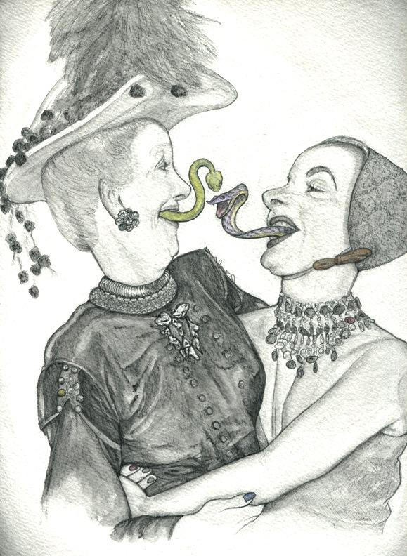 pencil drawing of two women embracing, with snakes coming out of their mouths black and white color highlight jewels glinting texture pompoms feathers necklace fake laugh embrace hug smile strange whimsical surreal