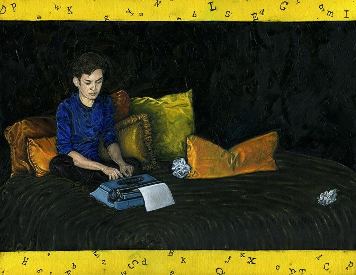 oil painting portrait large black bed cover pillows gold yellow brown light blue typewriter crinkled paper young man blue shirt sweater concentrating serious frustrated thinking typing dark hair border legal paper letters random scattered print mod contemporary