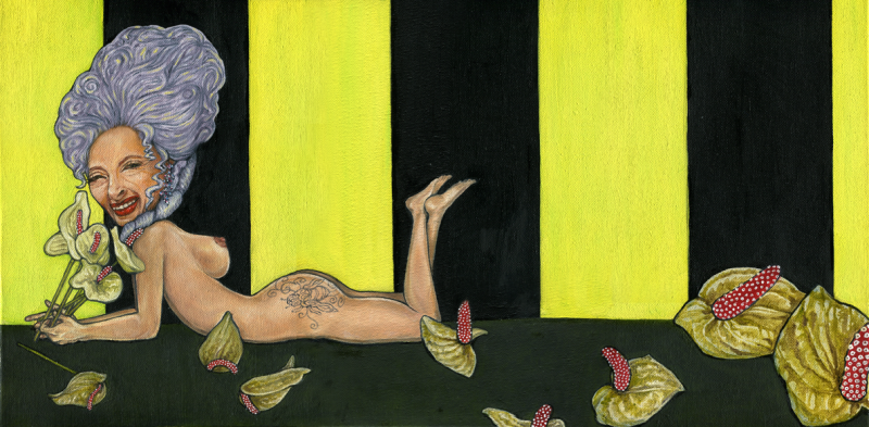 oil painting surreal modern art naked nude lady young woman purple lilac bouffant amy winehouse beehive mary antoinette louis xiv bright lemon yellow neon black stripes wallpaper anthurium flamingo flower laceleaf bouquet holding smiling lipstick earrings backwards anatomy tattoo honeybee wasp bee curlicues floral glittering earring