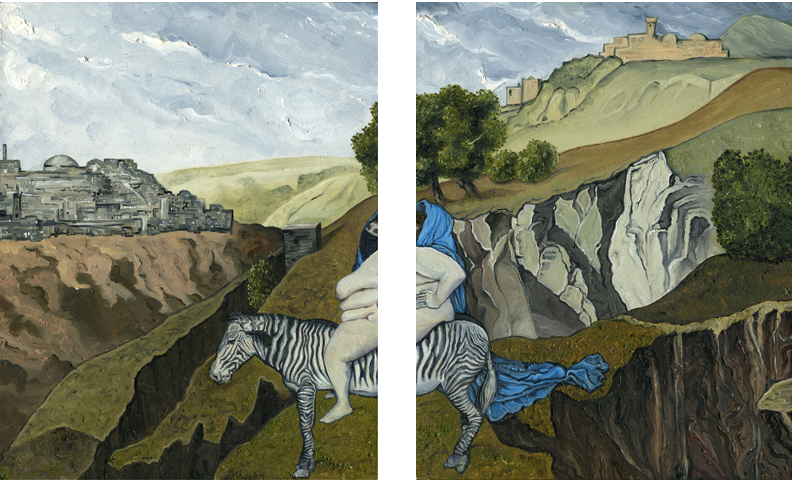 A diptych in oils of a naked woman with a blue mantle sitting on a zebra set against a hilly landscape with the towers of a city visible in the distance large obese fat wrinkled long draping drapery draped silk satin sky clouds picturesque castle old turrets