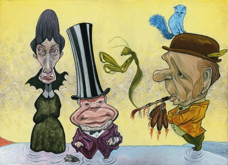 oil painting pastels cartoon caricature old woman scary bat collar wrinkles distorted features short fat man top hat purple suit possum swimming drowning velvet jacket bowler hat blue cat surreal feather peace pipe american indian native smoking praying mantis smoke bizarre funny