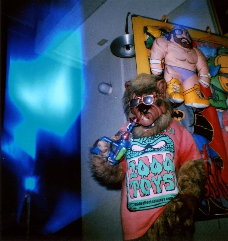 film photograph of a strange animal mannequin strange funny sign bizarre monster fur sunglasses trunk watergun plastic flash blur surreal