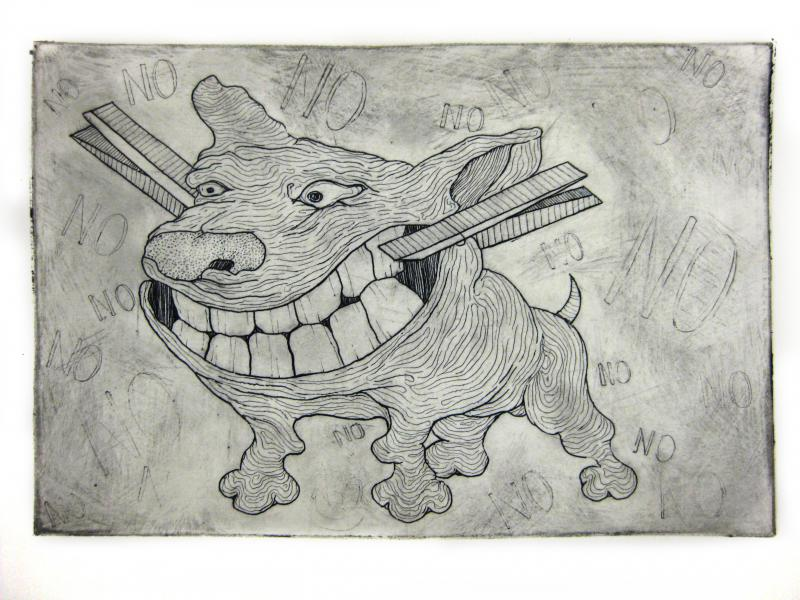 Intaglio print etching no dog cartoon surreal clothespin barking teeth