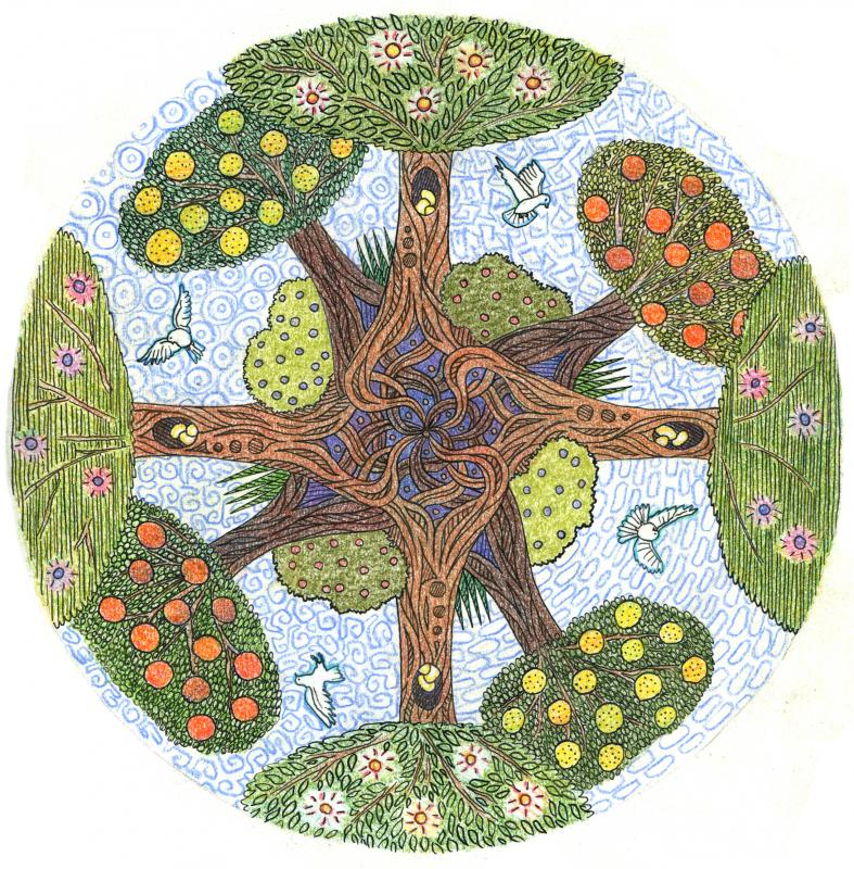 tree mandala dove flying eggs harmony nature roots fruit leaves blue sky