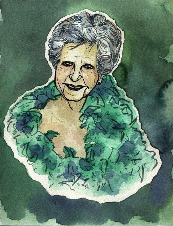 ink and watercolours portrait of an old woman wearing a green feather boa illustration red eyes weird creepy bizarre strange funny texture flow blotch wrinkles surreal portrait