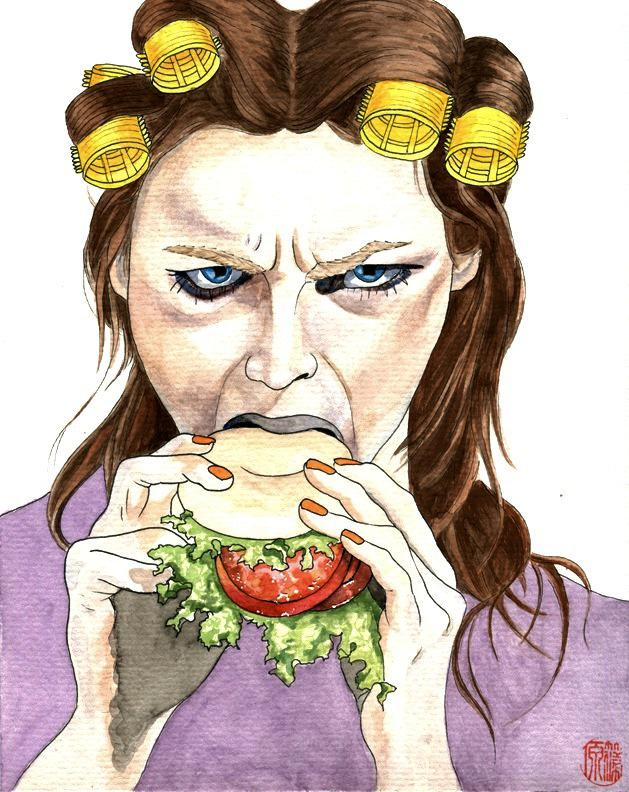 watercolour picture of a scowling woman with hair curlers eating a bagel sandwich with tomato and lettuce rainbow multicolor bright yellow red purple leaf lettuce orange fingernails manicure strange weird glaring angry chomp chomping