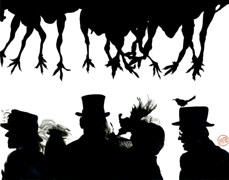 Black and white silhouettes of row of people with a row of chicken legs hanging down above them ascot lace veil feathers top hat tophat perching strange weird bizarre cute