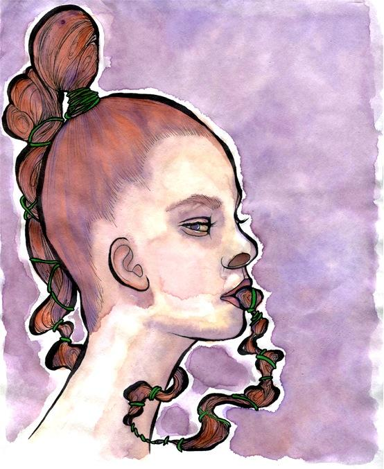 a watercolour and ink drawing of a redheaded girl with her hair in her mouth braided doubt frustration illustration strange weird surreal texture