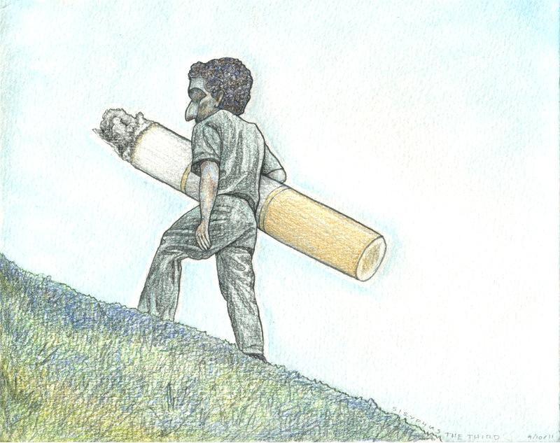 pencil and watercolour drawing of man walking up hill with enormous cigarette tucked under his arm illustration heavy weighed down ashy big nose dark difficult uphill struggle frustration surreal modern addiction difficult load heavy weird bizarre