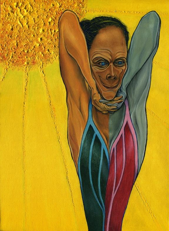 oil painting bright colorful texture sun rays yellow golden scary woman dark hair wrinkles surreal stretched skinny yoga pose fingers interlaced under chin stretch pranayama breathing chin mudra caricature distorted