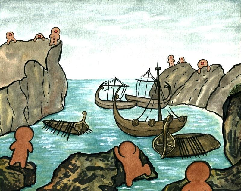 watercolour and ink drawing of giant gingerbread men looming over cliffs overlooking harbour with boats illustration looming threatening whimsical silly candy cinnamon red hots eyes cyclops strange bizarre surreal odyssey parody reflection azure waters monsters cute