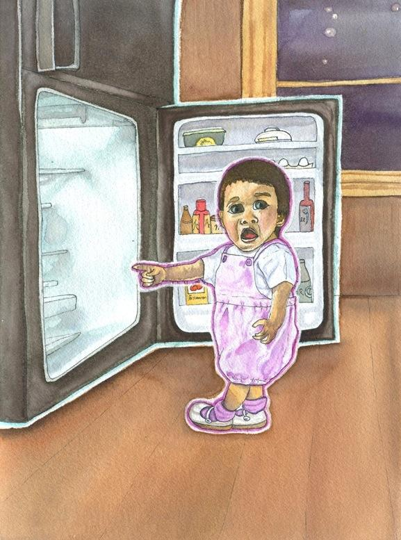watercolour drawing of a young child pointing into an open fridge dark starry night window mysterious implications cute shocked aghast questioning pink rompers shoes fridge refrigerator surreal whimsical lustig funny