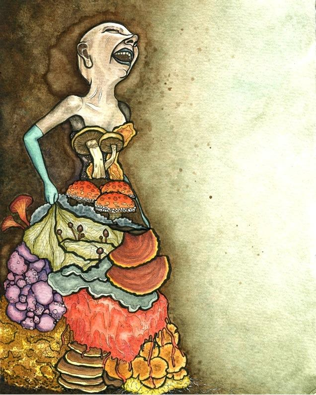 Tlazolteotl: watercolour painting of a laughing bald woman in a ballgown made of fungi and mushrooms, wearing a blue surgical glove strange bizarre surreal creepy flowing gross icky yucky slimy oozing rot decay aura halo evil goddess legend bizarre weird creepy