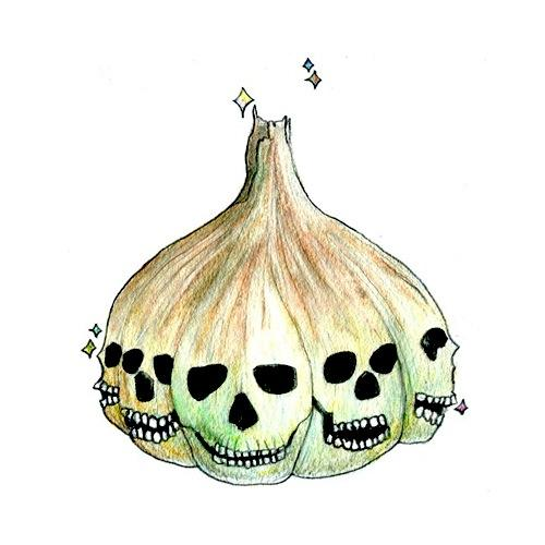 pencil drawing of a colourful head of garlic with skulls for each head cute whimsical strange multicolor sparkle cartoon skull line drawing