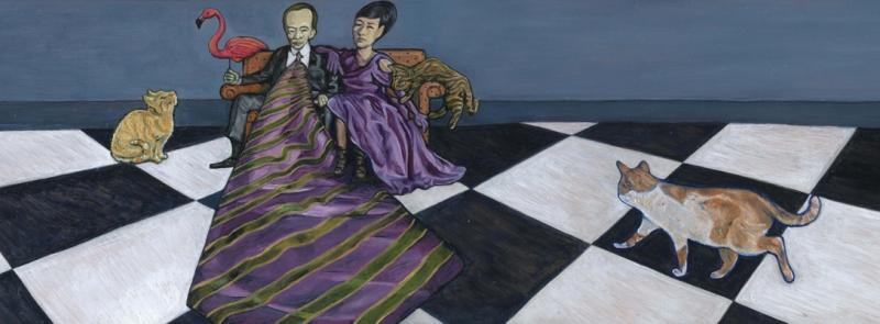 Oil painting of a man with an enormous necktie holding a (plastic?) flamingo and a woman seated on a couch, surrounded by three cats  stripes checker checkerboard alice in wonderland style distorted strange bizarre weird whimsical fanciful carpet garden ornament purple sitting looking pet kitty
