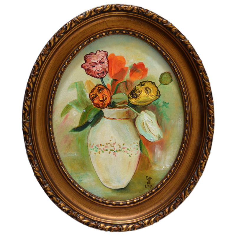 oval oil painting baroque ornate old fashioned gilt golden frame flowers still life tulips leaves water droplets white porcelain vase faces surreal grimace bizarre funny
