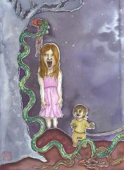 watercolour drawing of a little girl and toddler and a snake running off with a red shoe in its mouth strange weird bizarre surreal texture ribbons leash tied up string rope clutching pink dress horror fright scream baby