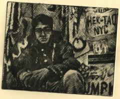 intaglio print etching soft ground tenebrism chiaroscuro portrait young man graffiti sitting glasses hapa nyc