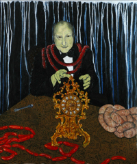oil painting old man clutching green sickly creepy ghoulish table sitting ornate golden clock baroque working functional sausages pile gross creepy surreal silver spoon links red necklace