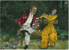 Oil painting impressionist style of a man in a red jacket white vest and pants with a layer cake and a girl  in old fashioned yellow dress corset pulling her long hair braid on a bench in a park with a strange pigeon like bird surreal weird bizarre strange ashy unhealthy corset pinch layer frosting icing flowers delicious gloves white suit buttonhole folds pleats gripping pursed lips angry
