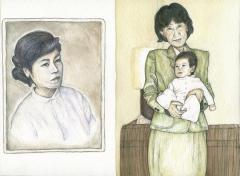watercolor vintage retro portrait baby young woman grandmother