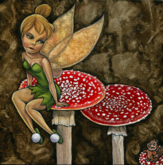 oil painting textured background red toadstools mushrooms little green fairy yellow wings sitting slippers tinkerbell blonde pouting not amused annoyed glaring little chipmunk beaver cartoon grinning sidekick surreal funny