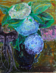 still life oil painting flowers hydrangeas blue purple white dark blue ceramic vase jellyfish