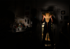 light portrait digital photograph chiaroscuro contrast dark shadow lighting kitchen person holding broom in front of face dishdrain rack scary surreal