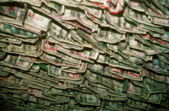 film photograph dollar bills floating air midair wall ceiling hanging hovering layers scribbles marker