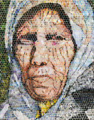 modern art collage decoupage holepunch pointillism circles tiny photoeffect old woman headscarf scarf wrinkles frown shadows babushka おばさん