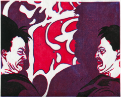 linoleum reduction print relief vintage retro pop art style red purple young man boy grimace horrible funny awful face double chin scowl graffiti shadow double