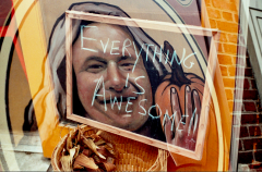 everything is awesome double multiple exposure lomography creepy long haired man pumpkin mural