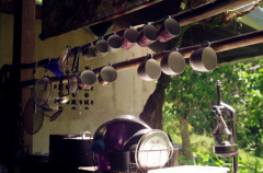 film photography teacups hanging kitchen outdoor peaceful