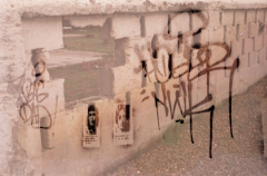 film photography lomography multiple exposure  graffiti wall brick