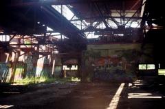 abandoned building graffiti sunshine light shadow