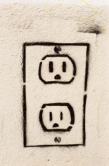 graffiti white wall outlets cartoon electrical cute funny