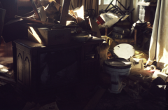 film photograph abandoned junk rubbish toilet tv set old smashed chair