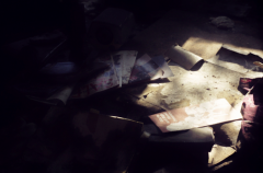 film photograph abandoned junk rubbish papers floor dusty dirty